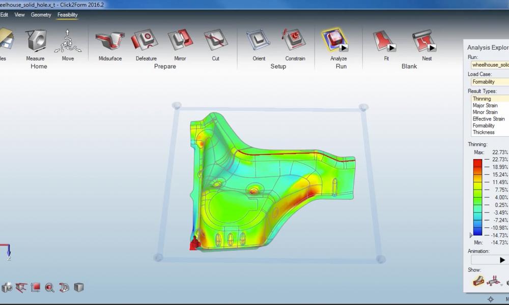 A SolidThinking Click2Form gyors, egyszerű és pontos analízist biztosít mélyhúzáshoz